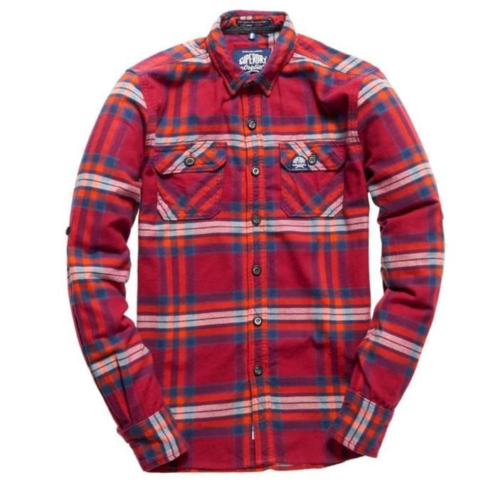3cc1a26075582 SUPERDRY Refined Lumb Chemise Ml Homme - Taille XXL - ROUGE Rouge ...