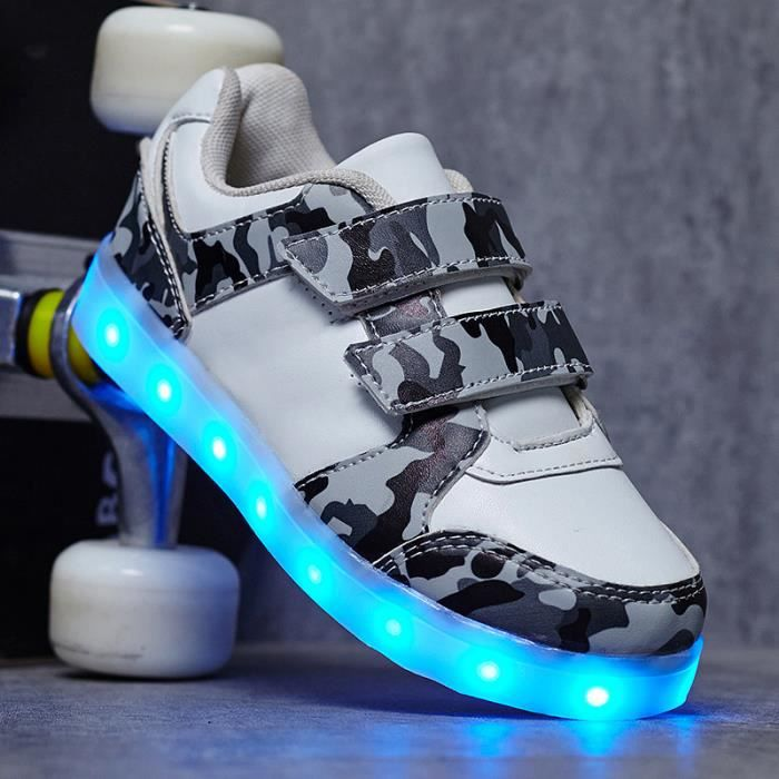 Baskets enfants mode Chaussures lumineuses à LED Chaussures plates occasionnelles Taille 25-37