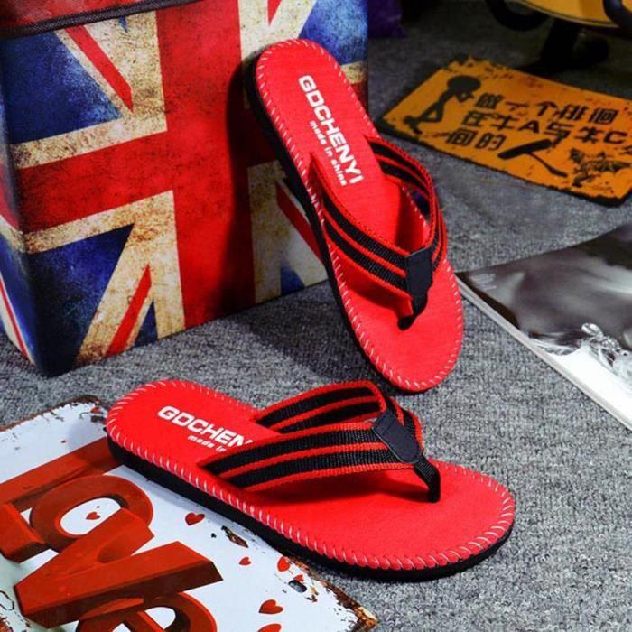 D'été Chaussures Homme Pantoufle Flip Tongs Flops Hommes Rouge Sandales Opanqv