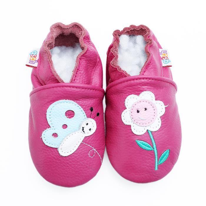check-out 53229 baa0c Chaussons Bébé Cuir Souple Chaussures Premiers Pas Chat gris unisexes avec  des Chaussures