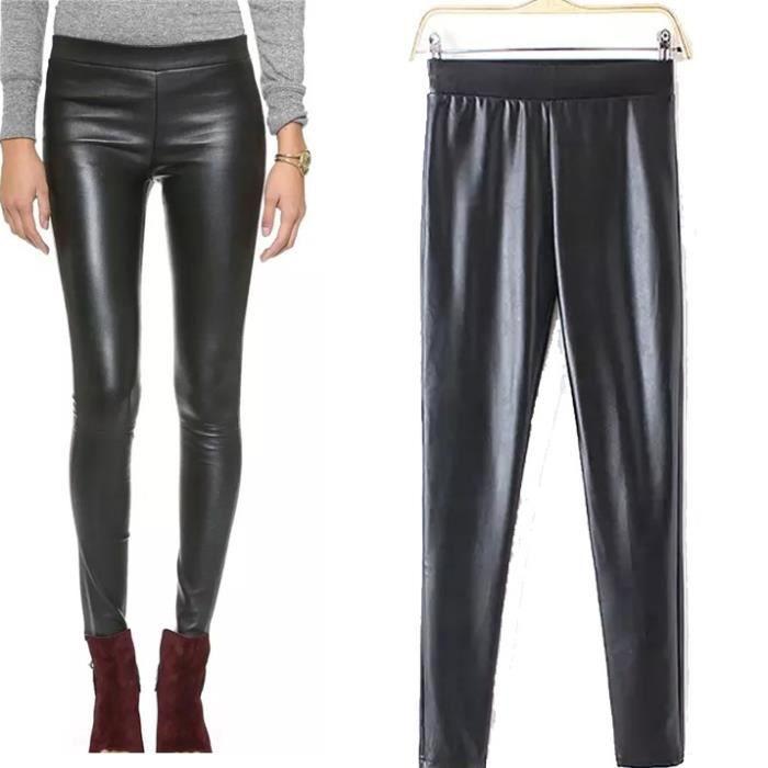 ZANZEA Femme Pantalon en Imitation Cuir Noir - Achat   Vente ... 4ad8d68ec326