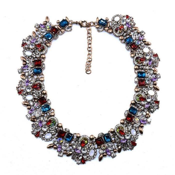Colliers pour femmes New Alloy plaqué or colliers artificielle pierre de cristal clavicule colliers 41+6CM