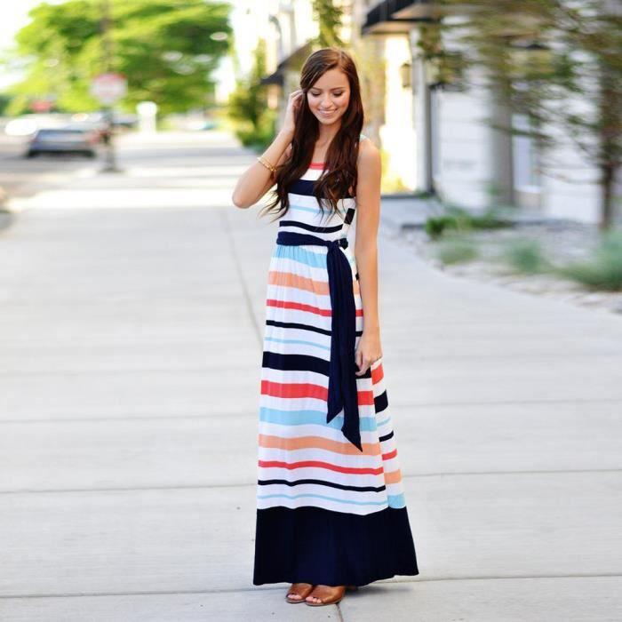 Napoulen®Femme rayée tunique à manches courtes Swing Casual long maxi robe avec ceinture Multicolore XXP80103361