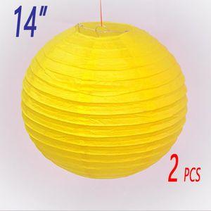"""LANTERNE FANTAISIE 2 x 14""""(35cm) jaune lanterne de papier abat-jour d"""