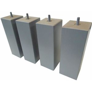 PIED DE LIT Jeu de 4 pieds bois carré silver 20 cm 70 x 70