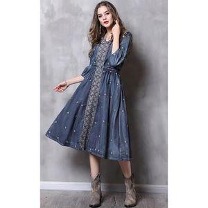 b22e05fd55809 ROBE femmes jeans longue robe maxi manches 3-4 coton bl