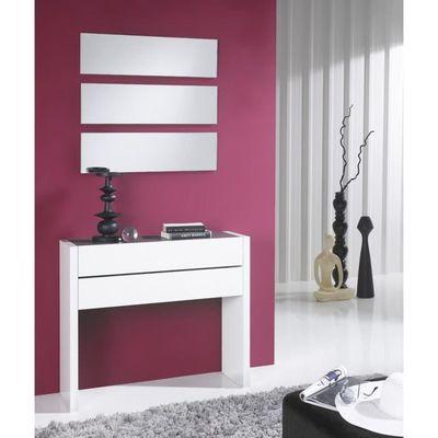 Meuble D Entree Blanc Laque Miroirs Nosila L 87 X L 28 7 X H