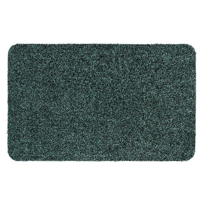 Couleur turquoise mouchetée de noir - lavable 30° - 100% polyester - 50x80 cm - Usage intérieurTAPIS D'ENTREE - TAPIS DE SEUIL