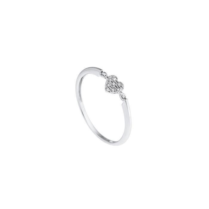 DIAMOND LANE Solitaire Or Blanc 375/1000 et Diamants Femme