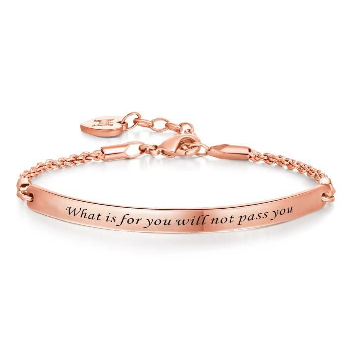 Womens Engraved Message what Is For You Will Not Pass You Inspirational Quote Bar Bracelet, Jewe Y5MJ4