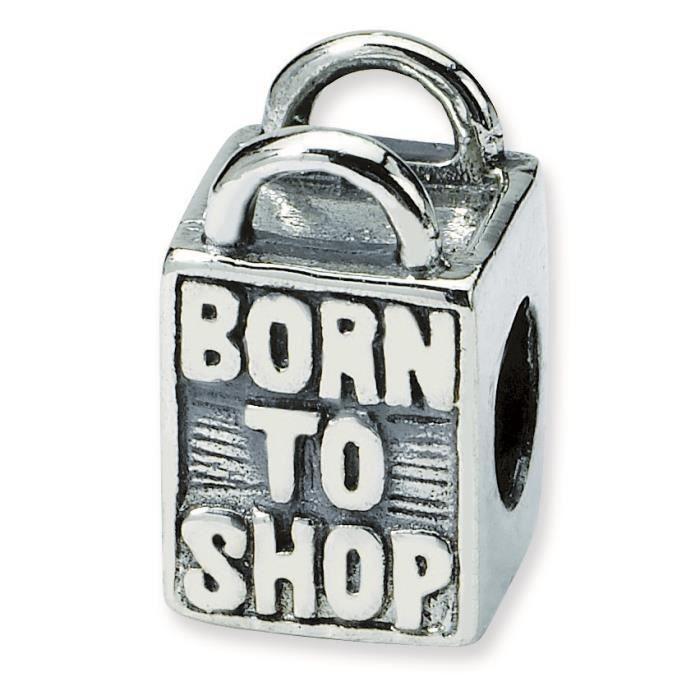 Argent Sterling réflexions Born To Shop-Charm perle