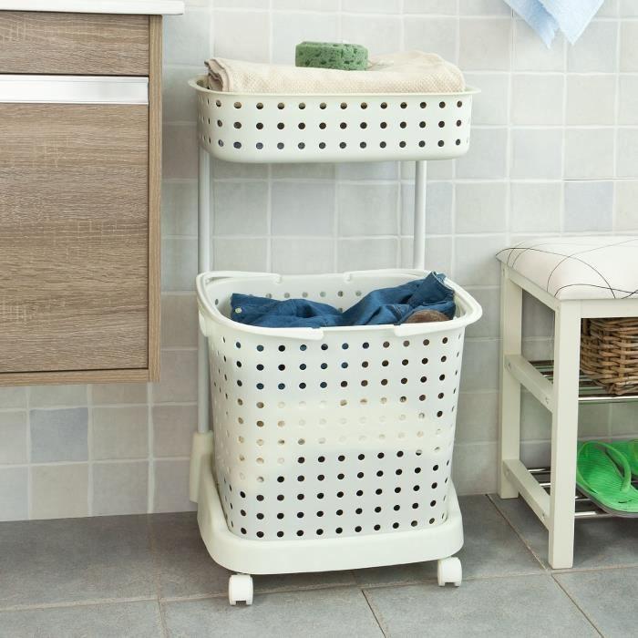 panier linge roulant rangement salle de bain cuisine chariot linge porte v tement pour. Black Bedroom Furniture Sets. Home Design Ideas