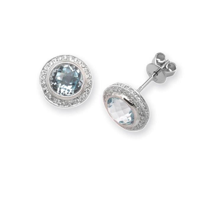 Jewelco London Or Blanc 18k Rond Brillant Bleu Topaze et Diamant Halo Solitaire Goujon Boucles dOreilles