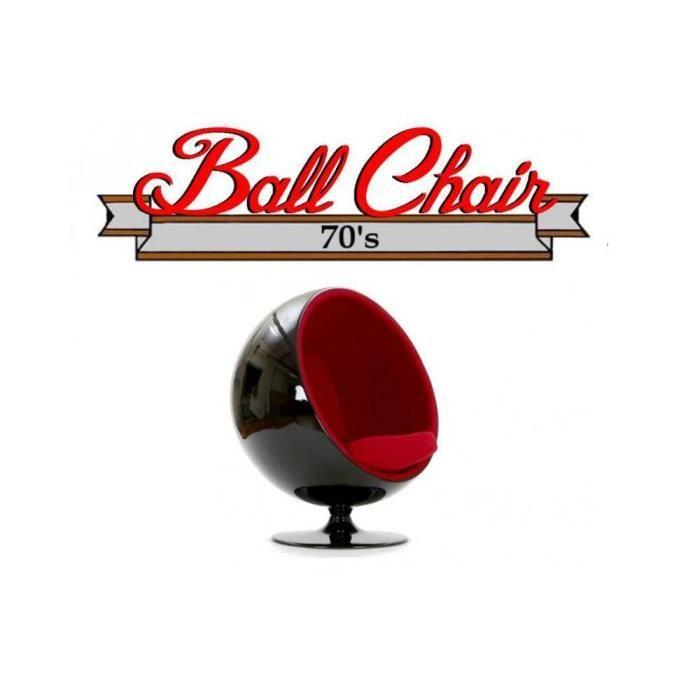 Fauteuil boule Ball chair coque noir intérieur velours rouge