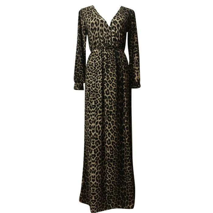 Femme Manche Longue Robe Sexy Col V Léopard Robe