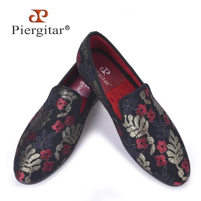 Nouveau tissu pailleté Impression Hommes Chaussures Luxe et Mode Trois couleurs Fleur Hommes Mocassins Taille Plus Flats Hommes