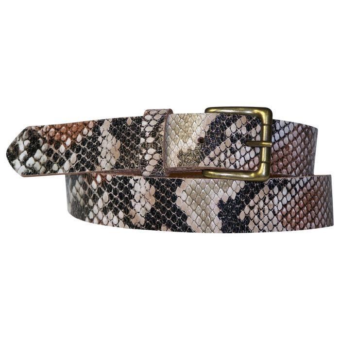 Ceinture Python pour femme 3 cm ceinture cuir effet serpent avec une boucle  couleur laiton, cuir de vachette véritable 9baeccb959a