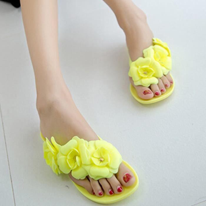 Sandales femme nouvel été belle fleur Camélia douce