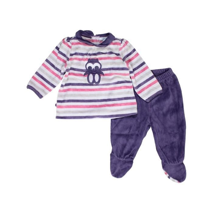 Pyjama 2 pièces bébé fille OKAIDI 6 mois violet hiver - vêtement bébé   1059048 30a72b2fd57