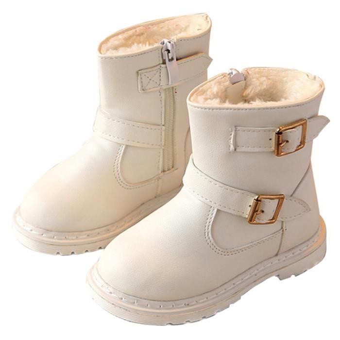 BJ Bottines XZ104Blanc25 Bottes Cuir Fille Enfants D'hiver Nouveaux Mode APTR0qw
