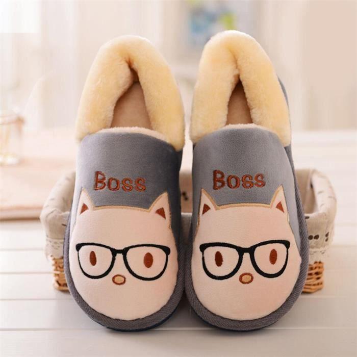 CUSSELEN Chat Chaussons Mignon Doux Série Couple résistantes à l'usure Confortable Chaussure Coton Classique HiverAdulte
