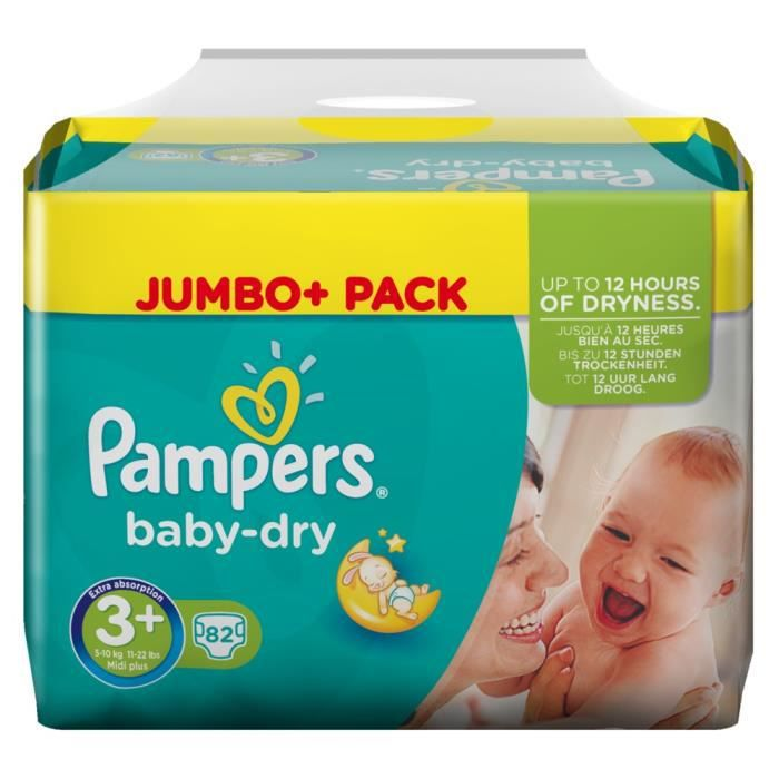 Pampers baby dry taille 3 midi plus 5 10 kg jumbo pack 82 - Couches pampers baby dry taille 3 ...