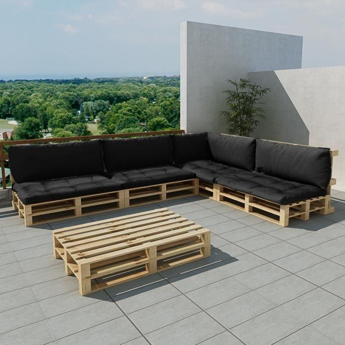 ensemble salon d 39 ext rieur en palette avec 9 coussins gris 15 pcs achat vente salon de. Black Bedroom Furniture Sets. Home Design Ideas