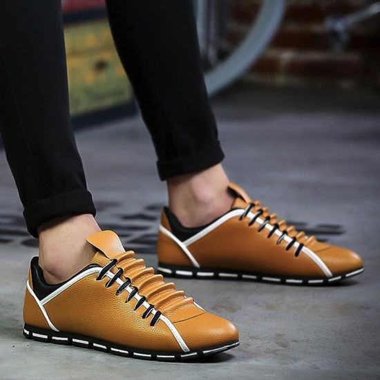Style Nouveau Casual Chaussures Mode Confortable Hommes Sneakers Cuir Respirant Plates Qe371 tsrhdQCxB