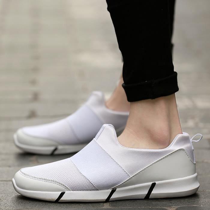 Chaussures Hommes Casual Confort extérieur Flats été pour hommes Gym Formateurs Tenis Sandales léger Mocassins Slip On,blanc,43
