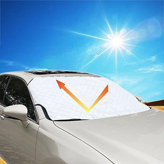 FREESOO Couverture Pare-Brise de Voiture Pare Soleil Neige Anti-Givre Pare-Brise Avant Universel pour Voiture Anti UV Repliable 147CM*100CM