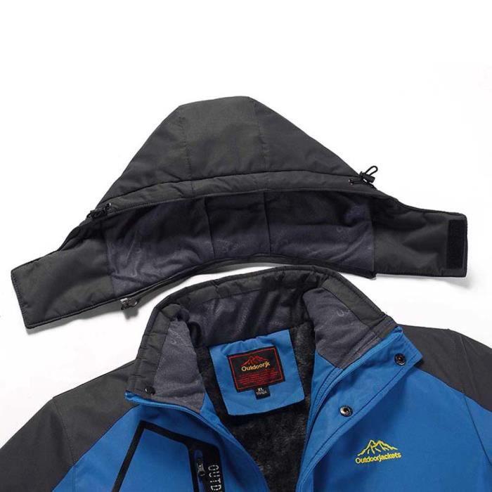 Zipper Manteau D'extérieur À Sport Capuche Cachemire Bleu Outdoor Assault Épaississement D'hiver Hommes qtwnOvxgT