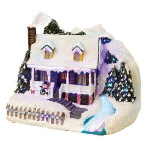 VILLAGE - MANÈGE Maison de Noël avec rivière LED en fibres optique