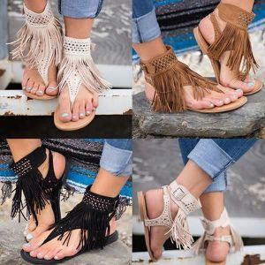 XZ923B8XZ923B8Clip Toe Tassel Chaussures Femme Fringe plates Spartiates Zapatos Mujer cheville d'été UR7OZMA