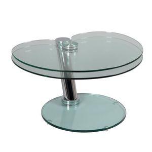 TABLE BASSE Table basse articulée Acier/Verre - GLASS n°2 - L