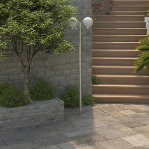 LAMPE DE JARDIN  Lampadaire double boule 220 cm