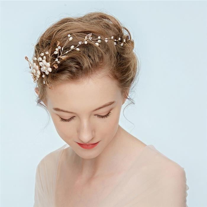 Bandeau De Mariée Bandeau De Perle Fleur De Cristal Coiffure De Coiffure Accessoires De Mariage Md207