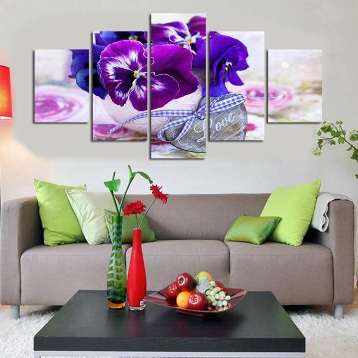 Sans Cadre 5 Panneau Mur Art Moderne Violet Papillon Fleur Paysage