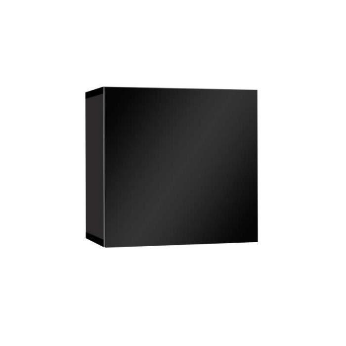 Meuble tv laqu mural cube noir achat vente living for Meuble mural cube