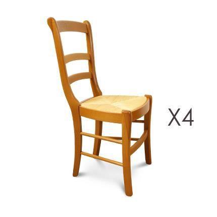 chaise lot de 4 chaises htre assise paille louis philipp - Chaise Hetre Assise Paille