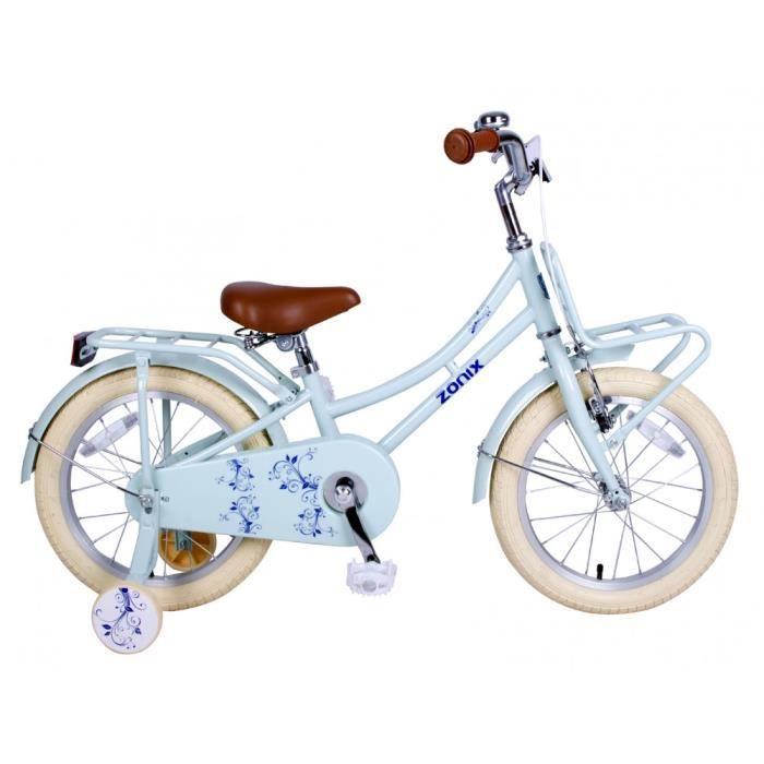 4fa1510b5ad97c Vélo Fille Zonix 16 Pouces Frein à Rétropédalage et Stabilisateurs Amovibles  Bleu 85% Assemblé