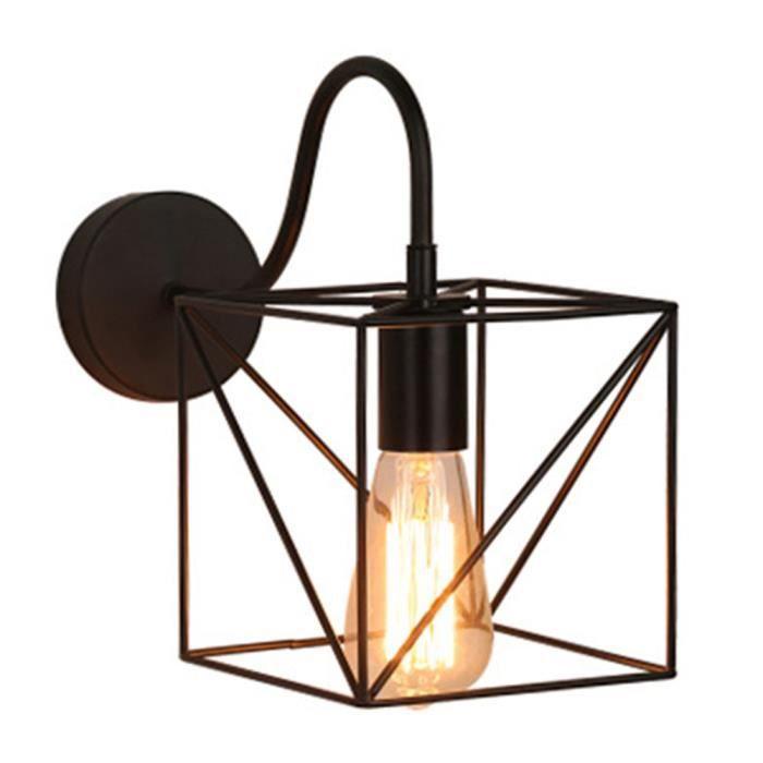 Camio Applique Murale Vintage Industriel Cage Cube en Métal Plafonnier  Luminaire Rétro Lampe Intérieure Décoration pour Salon Cuisin
