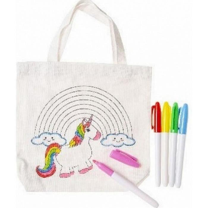 Coloriage Licorne Jeux.1 Sac A Colorier Licorne Tote Bag 21 X 22 Cm 4 Feutres Jeu Creatif Cadeau