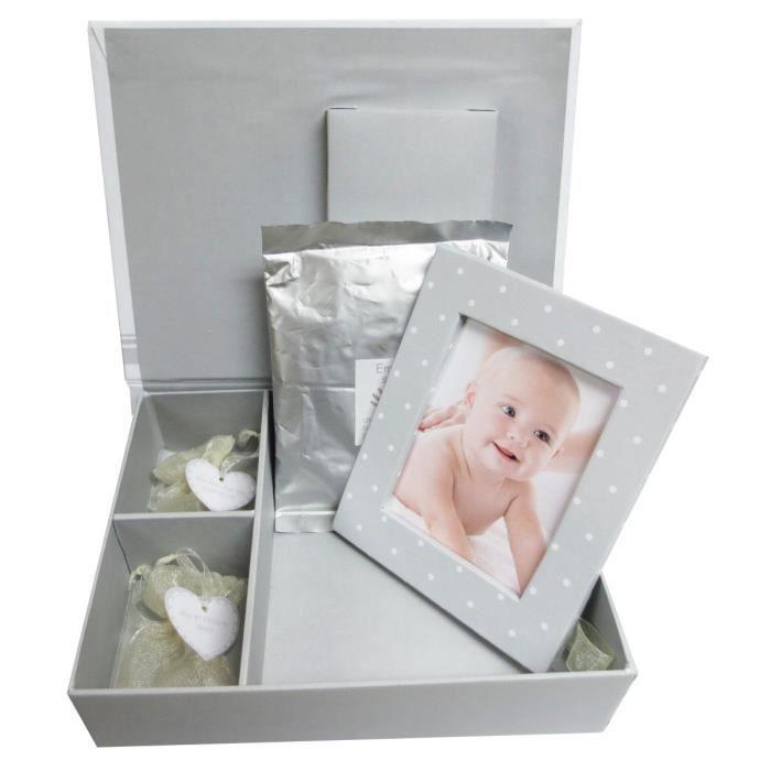 domiva bo te a souvenirs cadre photo empreinte blanc et gris achat vente coffret cadeau. Black Bedroom Furniture Sets. Home Design Ideas