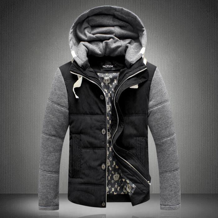 A Doux Doudouneblouson Coupe Noir Capuche Home Tissu Fashion Slim TzwgHfUwqx