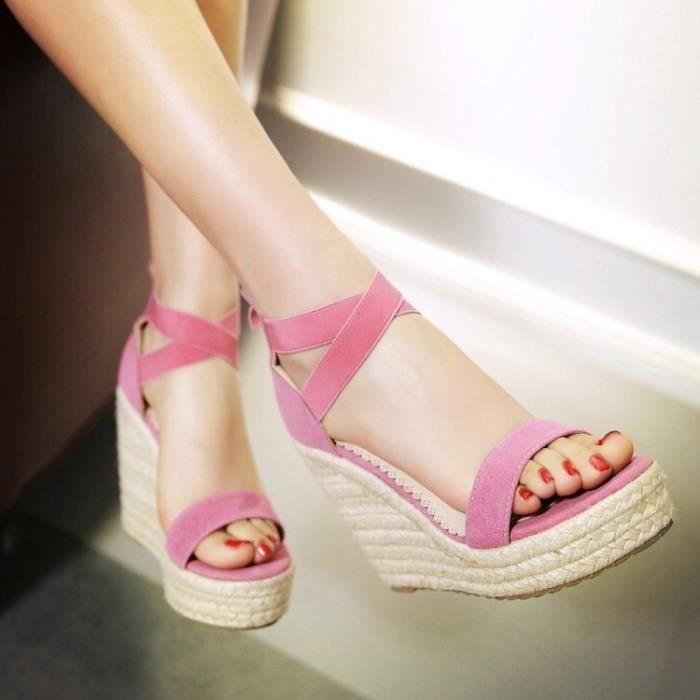 talons hauts-Pure Color High Heel Wedge Heel Wo...