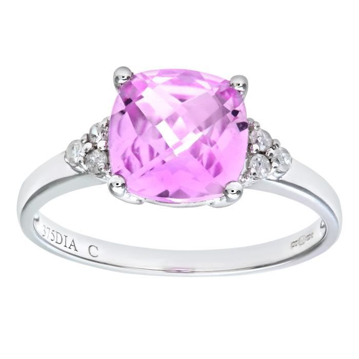 Revoni Bague Solitaire Saphir et Diamant Or Blanc 375° Femme: Poids du diamant : 0.08 ct - CD-PR07207WCrtdPinkSa-P