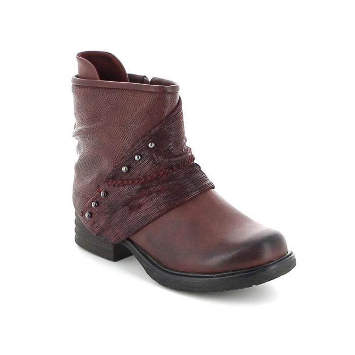 Boots en cuir ciselé - Bordeaux DZoWMW5