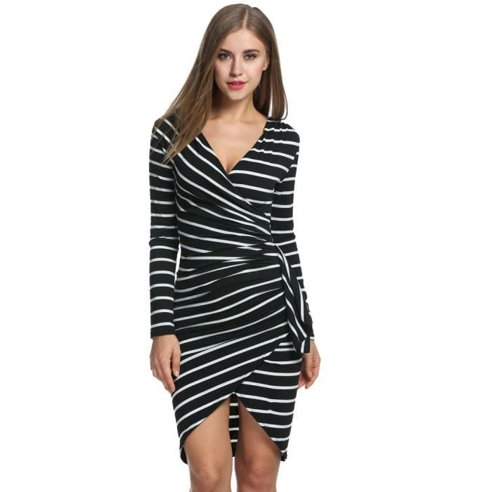 Robe crayon femme manches longues rayé