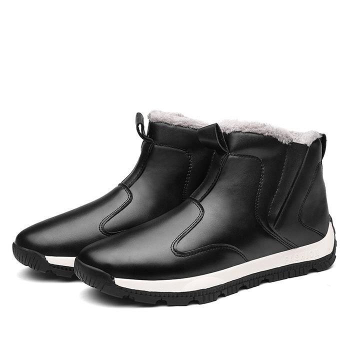 Bottines Hommes De Marque De Luxe Meilleure Qualité Bottine Hiver Garder au chaud Chaussure Plus de cachemire Grande Taille 39-45 DN4Wnyyv