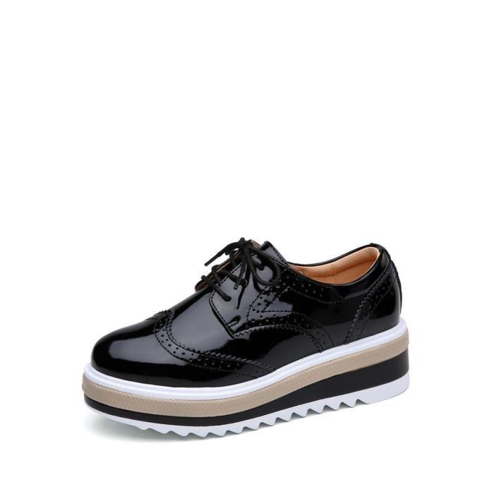 Mocassins Pompes simple de femme Mode Tous les matchs solides Brogue Round Vintage Toe lacer Chaussures de plate-forme 8855902